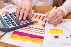 Business analyst working with reports, graphs. And diagrams stock photo