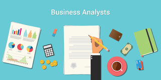 Business analysts illustration with businessman working on paper document with graph money chart paperwork on top of. Table vector Stock Image