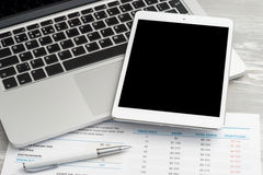 Business analytic with digital tablet. Isolated and laptop computer royalty free stock photos