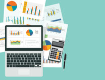 Business analytic graph in device with report paper concept. Business planning and business investment concept royalty free illustration