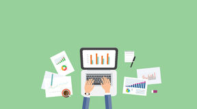 Business analytic graph report . business investment planning Stock Photos