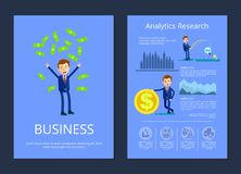 Business and Analytic Research Vector Illustration. Business and analytic research, man tossing up money and businessman fishing money and standing by big coin Stock Image