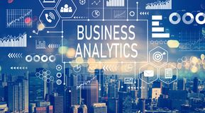 Business Analytics with aerial view of city skylines Royalty Free Stock Photos
