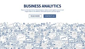 Business Analytics Banner Design. Vector Illustration of Line Web Concept Royalty Free Stock Photo