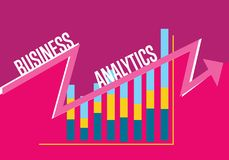 Business analytics banner with graphic report. Business finance analytics banner with graphic report on perpl background. Colorful illustration concept of Stock Photo