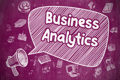 Business Analytics - Business Concept. Business Concept. Horn Speaker with Wording Business Analytics. Cartoon Illustration on Purple Chalkboard Royalty Free Stock Images