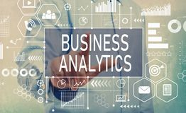 Business Analytics with businessman. Pointing digital screen Royalty Free Stock Images