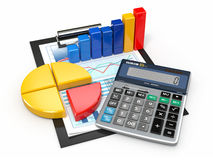 Business analytics. Calculator and  financial reports. Business analytics. Calculator, financial reports and graphics Stock Images