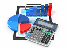 Business analytics. Calculator and  financial reports. Business analytics. Calculator, financial reports and graphics Royalty Free Stock Image