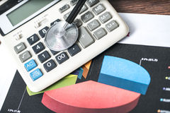 Business analytics. Calculator, financial reports Royalty Free Stock Photography