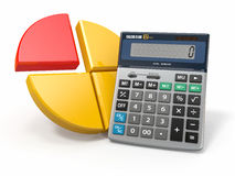 Business analytics. Calculator and graphic Stock Image