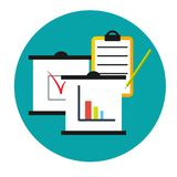 Business analytics icon. Clipboards with graphics diagram and data. Business analytics. Clipboards with graphics diagram and data. Concept icon Stock Photography