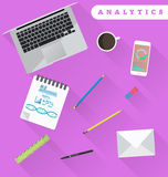 Business analytics and financial audit. Brainstorm and calculati. Ons. Working place in flat design Royalty Free Stock Photos
