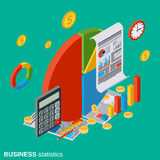 Business analytics, financial statistics vector concept. Business analytics, financial statistics flat isometric vector concept illustration Royalty Free Stock Photo