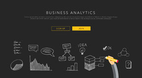 Business analytics flat template, vector Stock Image
