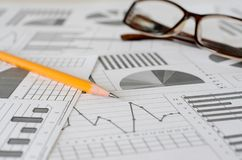 Business analytics, graphs and charts. A schematic drawing on paper stock images