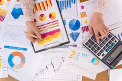 Business analytics with graphs, diagrams. And chart stock image