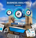 Business Analytics Infograph template with multiple choices. And a lot of infographic design elements and mockups. Ranking elements to display product Stock Photography