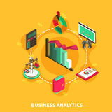 Business Analytics Isometric Round Composition. Business analytics financial isometric icons with percentage diagram scales calculator computer symbols vector Royalty Free Stock Photography