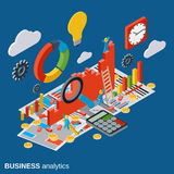 Business analytics, report, financial statistic, growth vector concept. Business analytics, report, financial statistic, growth flat isometric vector concept Stock Image