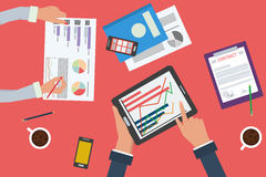 Business analytics, statistics and planning. Vector concept of working process. Business analytics and financial audit. Brainstorm and calculations. Top view of Stock Photography