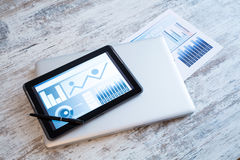 Business Analytics with a Tablet PC Royalty Free Stock Photo