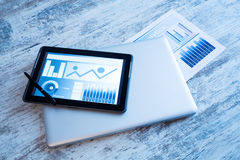 Business Analytics with a Tablet PC Royalty Free Stock Photography