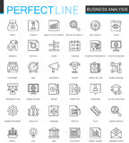 Business analytics thin line web icons set. Finance strategy information outline stroke icons design. Royalty Free Stock Image