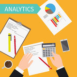 Business analytics top view illustration. Business analytics and financial audit top view vector illustration Royalty Free Stock Image