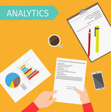 Business analytics top view illustration. Business analytics and financial audit top view vectorillustration Stock Photo