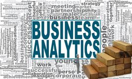 Business analytics word cloud. Creative illustration of idea word lettering typography . 3D rendering Royalty Free Stock Photos