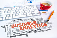 Business analytics word cloud. On office scene stock images