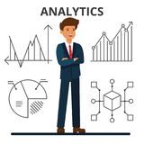 Business analytics. Young businessman looking at financial charts.. Business analytics. Young businessman looking at financial charts. Management and marketing Royalty Free Stock Photos