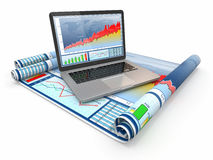Business analyze. Laptop, graph and diagram. Royalty Free Stock Image
