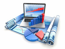 Business analyze. Laptop, graph and diagram. Royalty Free Stock Photos