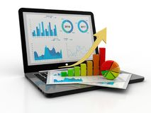 Laptop with Business Graph. 3d render, Online Stock market Concept. Business analyze. Laptop, graph and diagram. Stock market Concept. 3d render Stock Photography