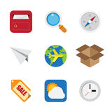 Business And Interface Flat Icons Set,Illustration Royalty Free Stock Image