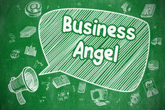 Business Angel - Cartoon Illustration on Green Chalkboard. Business Angel on Speech Bubble. Hand Drawn Illustration of Yelling Bullhorn. Advertising Concept Royalty Free Stock Photography