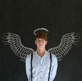 Business Angel Investor Man With Chalk Wings And Halo Royalty Free Stock Photography