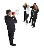 Business announcement through loudspeaker on white Royalty Free Stock Images
