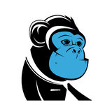 Business ape with blue face Royalty Free Stock Photography