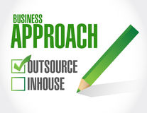 Business approach check list. outsource. Illustration design over a white background Royalty Free Stock Photo