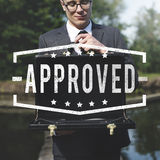 Business Approved Attache Case Concept. Corporate Business Approved Graphic Concept stock images