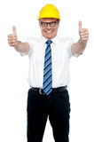 Business architect showing double thumbs up Stock Photography