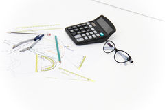 Business Architectural project, pair of compasses, glasses, rule Royalty Free Stock Photo