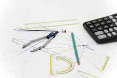 Business Architectural project, pair of compasses, glasses, rule Royalty Free Stock Images