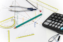 Business Architectural project, pair of compasses, glasses, rule Royalty Free Stock Photos