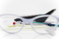 Business Architectural project, pair of compasses, glasses, rule Royalty Free Stock Image