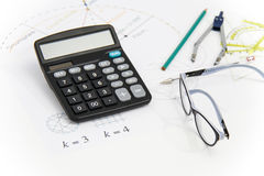 Business Architectural project, pair of compasses, glasses, rule Royalty Free Stock Photography