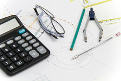 Business Architectural project, pair of compasses, glasses, rule Stock Photography